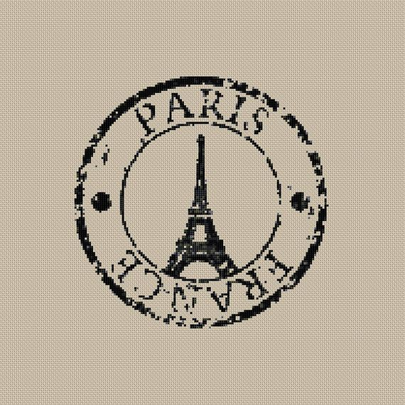 Instant download,Free shipping,Cross stitch , Crossstitch PDF/JPEG,vintage  Eiffel tower postmark, cross stitch pillow pattern,zxxc0369