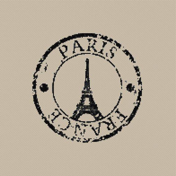 Instant download,Free shipping,Cross stitch , Crossstitch PDF/JPEG,vintage  Eiffel tower postmark, cross stitch pillow pattern,zxxc0369