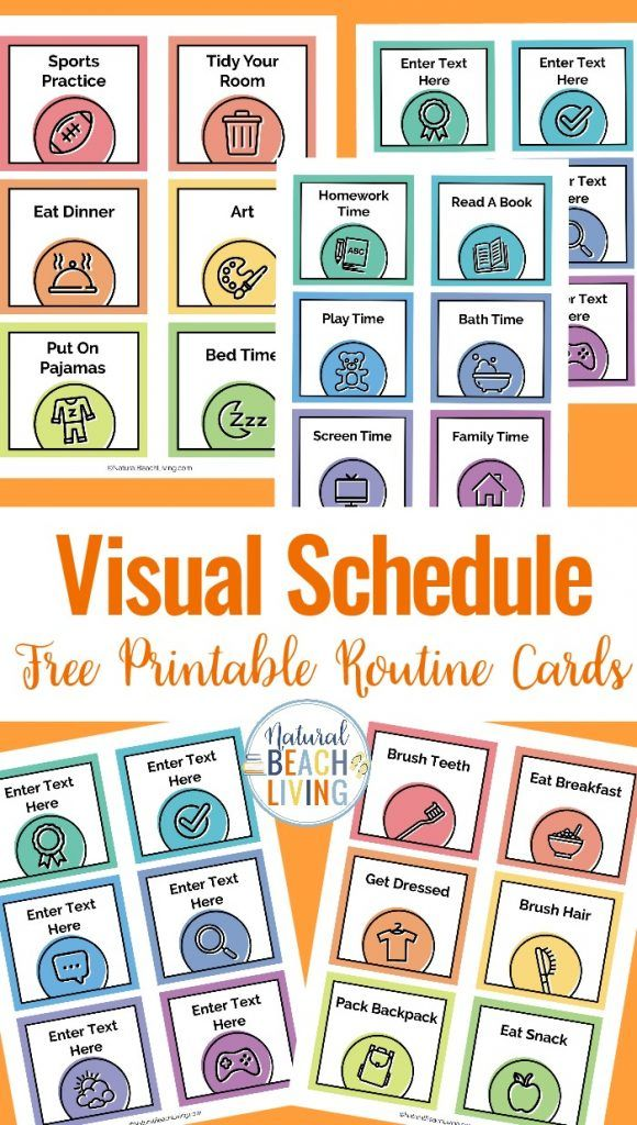 Visual Schedule Free Printable Routine Cards With Images