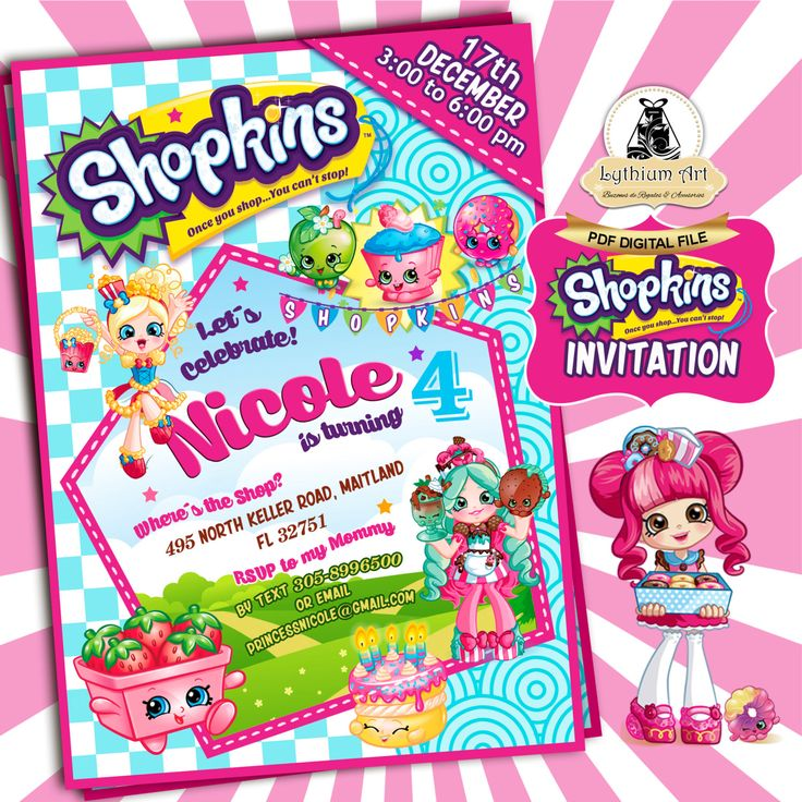 WELCOME TO LYTHIUM ART SHOP! SHOPKINS PARTY INVITATION