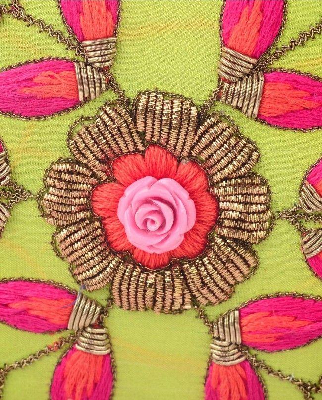 Lime Green Leaf Embroidered Clutch - Karieshma Sarnaa - Designers