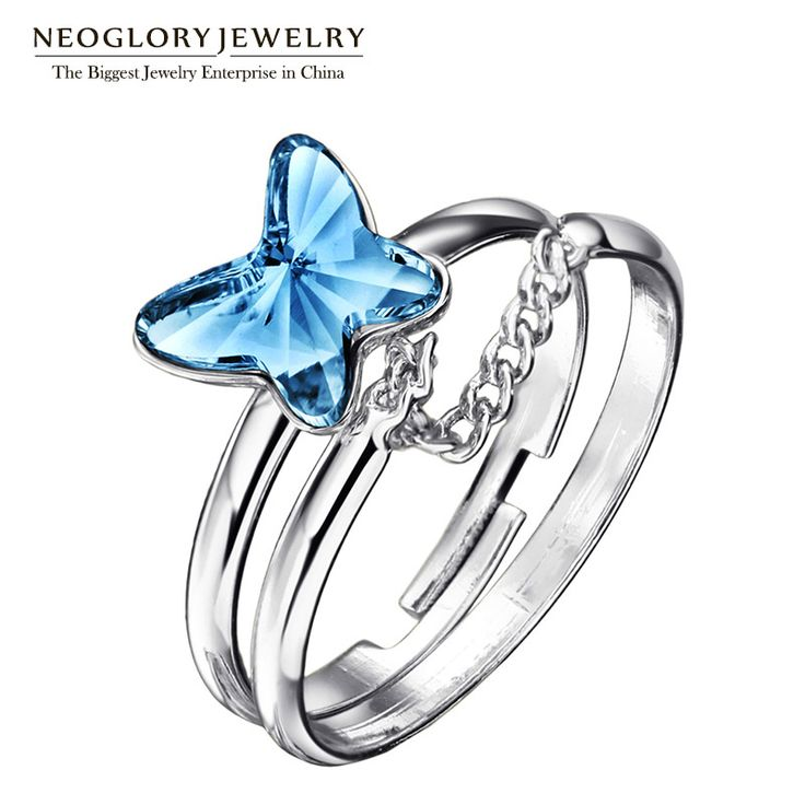 Jewelry Austria Crystal Colorful Butterfly Multilayer Chains Vintage Adjustable Rings for Women Romantic  New