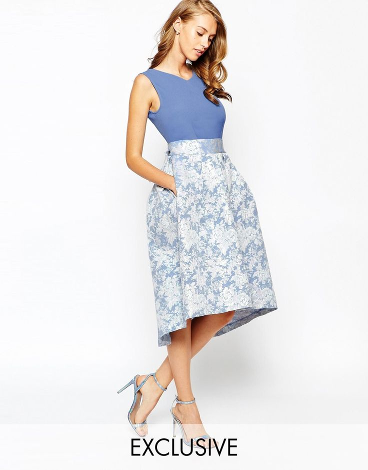 Closet 2 in 1 Skater Dress With Contrast Pleated High Low Skirt