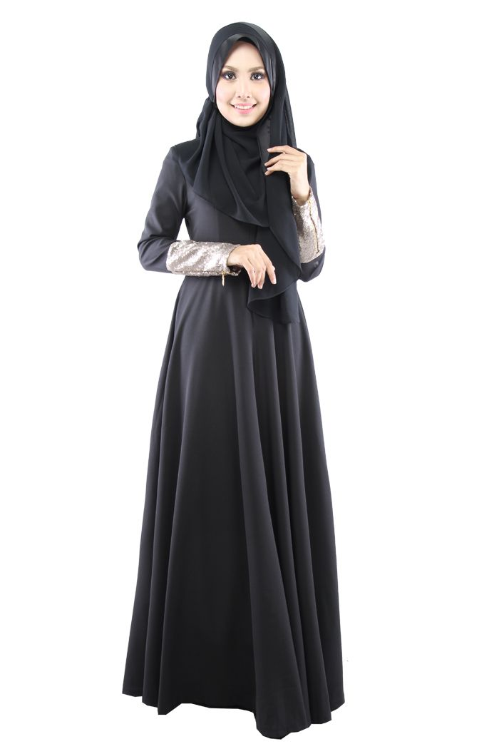 Alicia Sequin Dress in black / natural fiber / Zawara Malaysia hijab style abaya