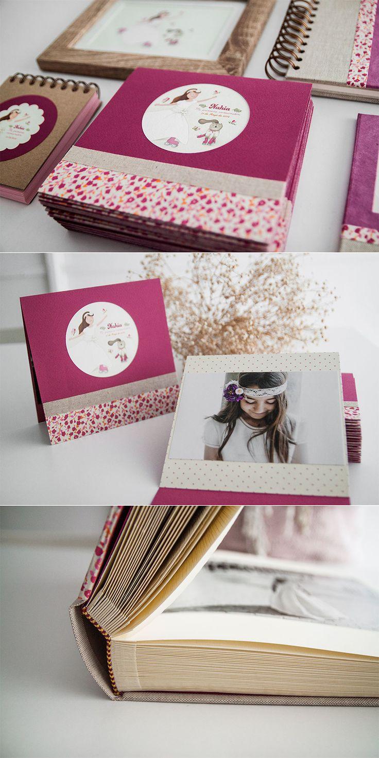 comunión, niña, ilustración personalizada, álbum,portafotos, recordatorios