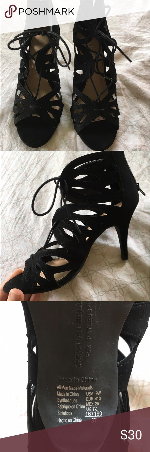 Christian Siriano black heels Super cute black heels worn once for prom, in amazing condition, just like new. kind of suede material size 9 women's Christian Siriano Shoes Heels