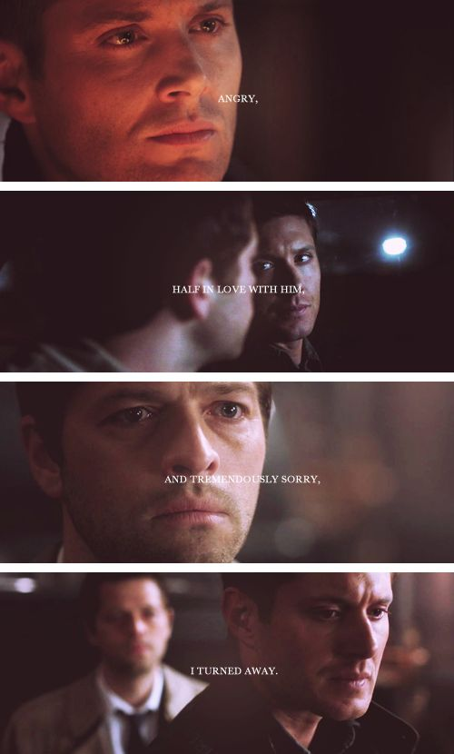 angry, half in love with him, and tremendously sorry, i turned away. #spn #destiel