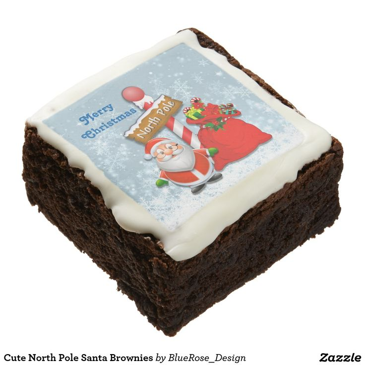 Cute North Pole Santa Brownies Square Brownie