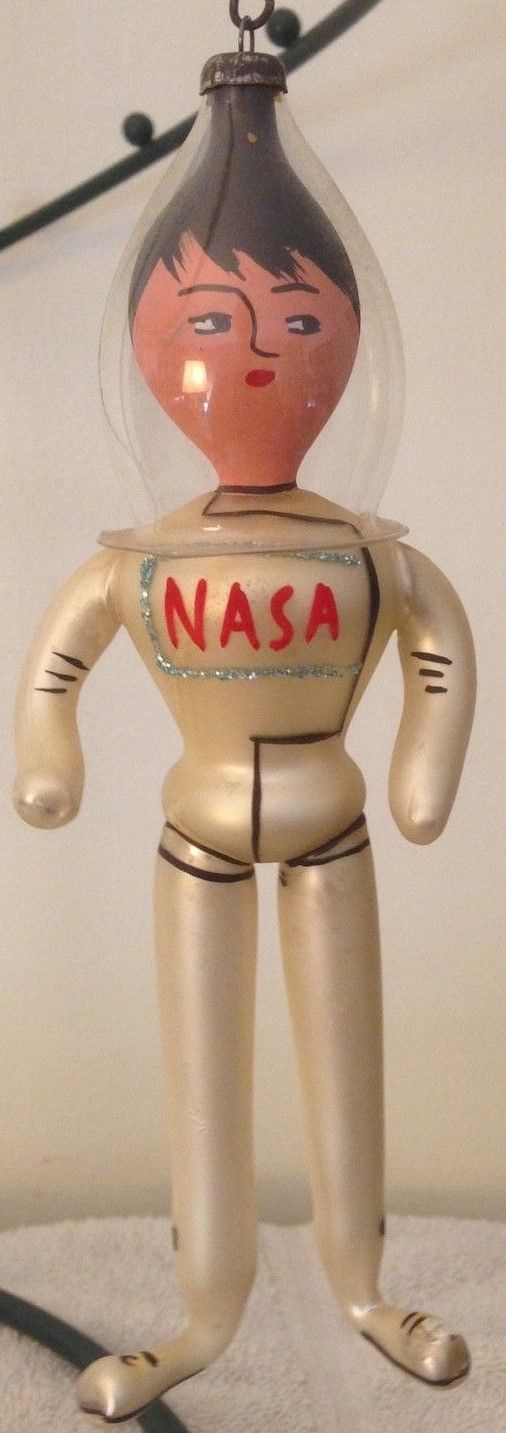 1969 Italian Freeblown Glass U.S. Astronaut ornament commemerating the moon landing.