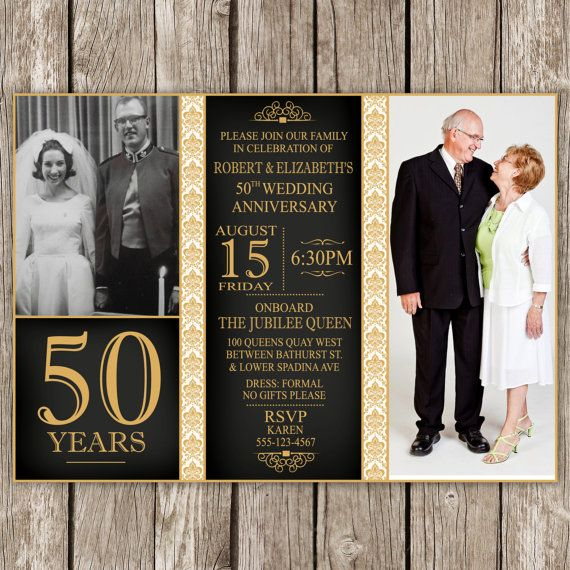 Check out this item in my Etsy shop https://www.etsy.com/ca/listing/198817523/anniversary-photo-invitation-50th-golden