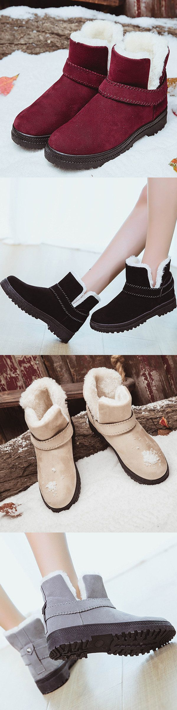 $18.28  Big Size Strappy Warm Suede Ankle Slip On Fur Lining Flat Snow Martin Boots