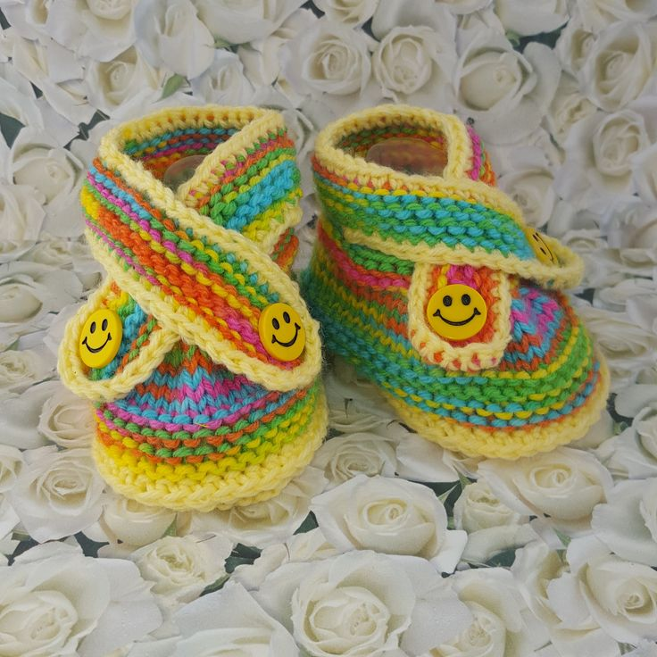 Knitted baby booties with a smile $10.99 Our Knitted baby booties keep your baby's little feet warm and comfy. They're knitted from soft wool that doesn't irritate your baby's skin.