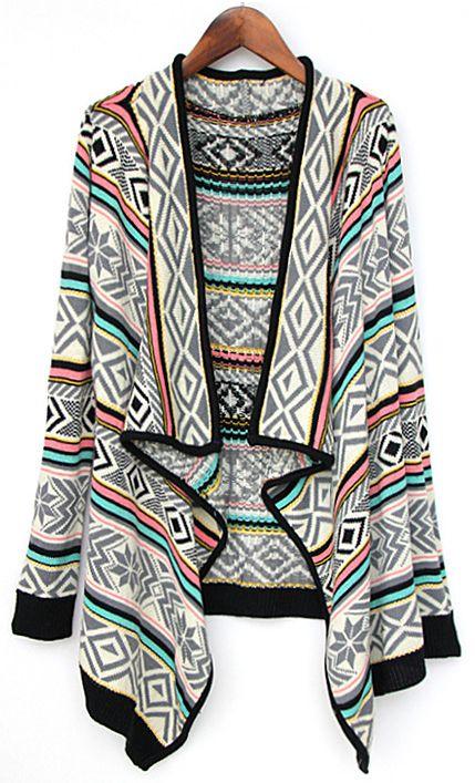 Grey Draped Collar Tribal Pattern Cardigan