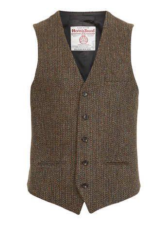 Harris Tweed Khaki Waistcoat - Waistcoats  - Suits