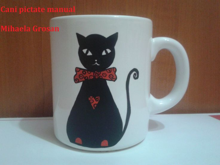 cat painted on mug / pisica pictata pe cana