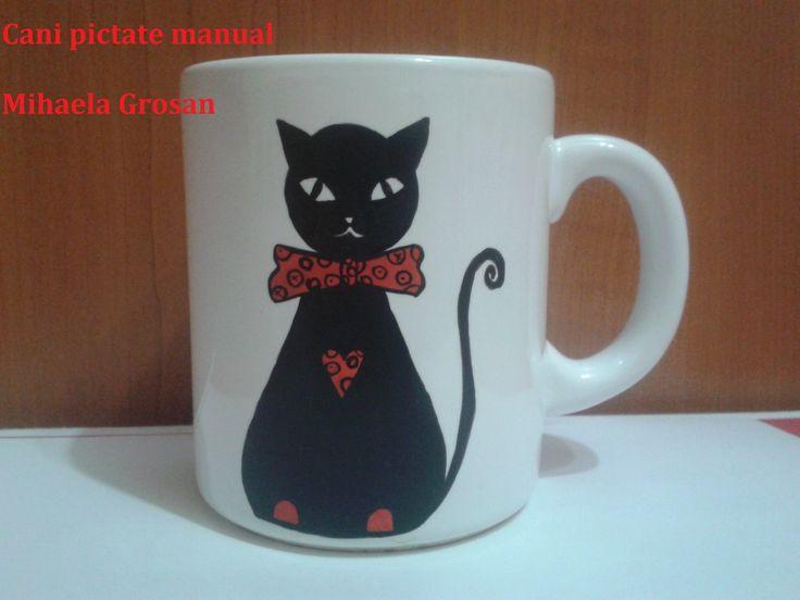 cat painted on mug / pisica pictata pe cana