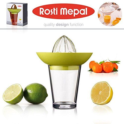 Rosti Mepal Citrus Lemon Press Squeezer with Glass in Green
