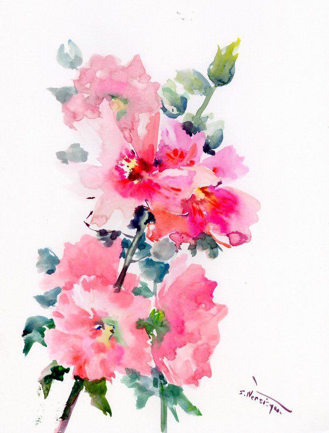 Pink Hollyhock Flowers Original Large Watercolor Painting Modern