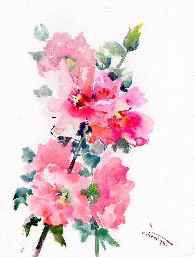 Pink Hollyhock Flowers Original Large Watercolor Painting Modern