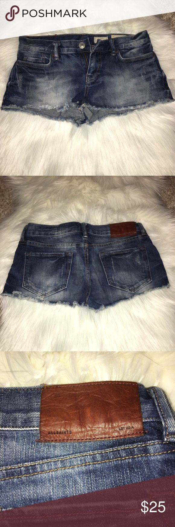 """AllSaints Distressed Blue """"Hot Pant"""" Jean Shorts AllSaints Distressed Blue """"Hot Pant"""" Jean Shorts MINt condition absolutely no signs of wear. Wore during 5 day Miami Beach trip over Labor Day (3/4x). Bootie shorts with a distressed look. All Saints Shorts Jean Shorts"""