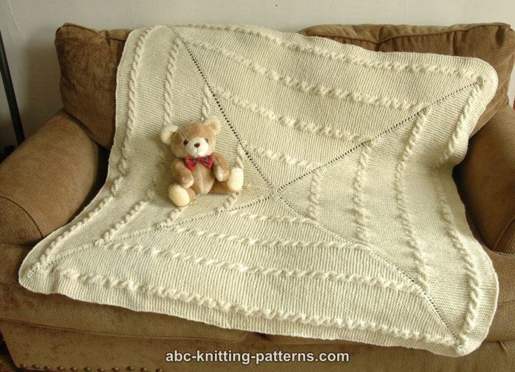 ABC Knitting Patterns - Garter Stitch Baby Blanket with Cables