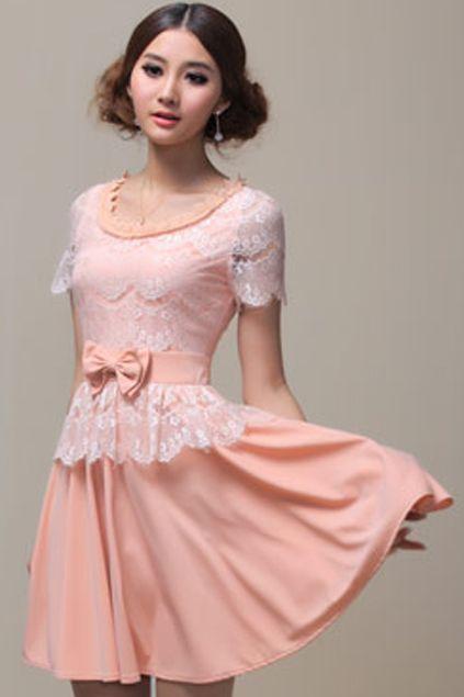ROMWE | Solid Color Bowkont Waist Pink Dress, The Latest Street Fashion @ROMWEROCOCO