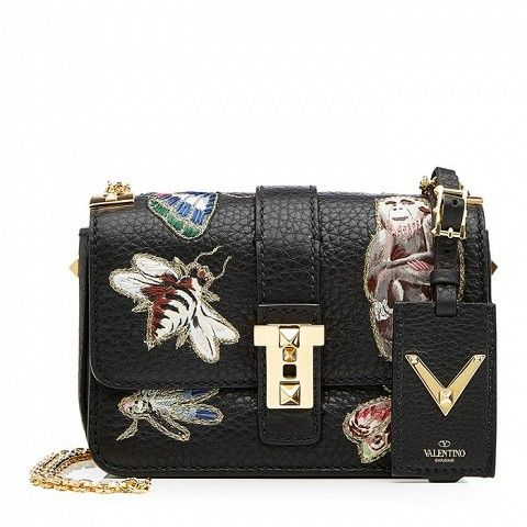 Valentino Leather Shoulder Bag With Embroidered Motifs