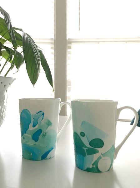 Make dad a bike inspired marbled mug! Useful and handmade!
