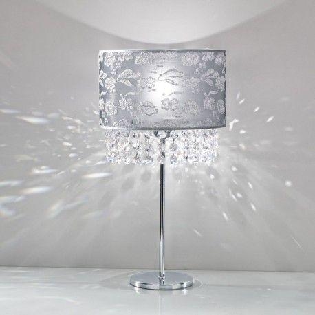 VIOLETTA di AnteaLuce, Lume Moderno lampada da comodino con Paralume Pizzo e Cristalli