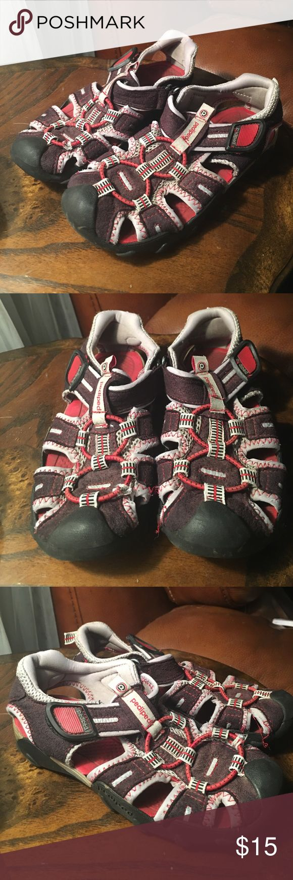 Closed toe medical walking shoe foot protection boot - Boys Closed Toe Sandal Pediped Black Red Size 12
