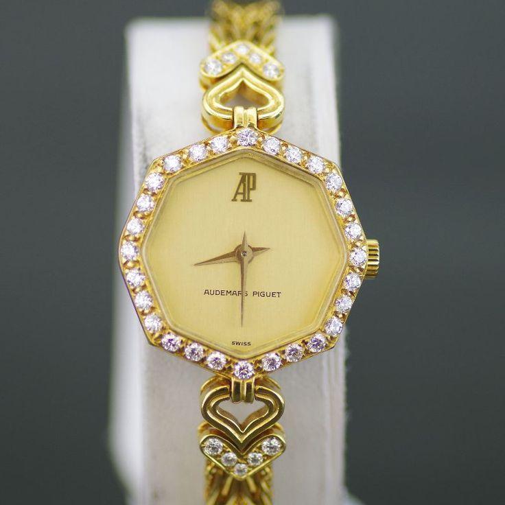 【中古】AUDEMARS PIGUET(オーデマピゲ) ダイヤベゼル 手巻き K18 レディース ゴールド文字盤時計/新品同様・極美品・美品の中古ブランド時計を格安で提供いたします。