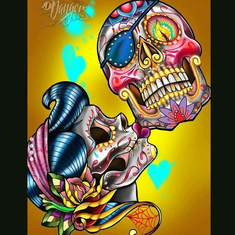 New design Sugar Skull Kiss. 10' banner at this seasons ASD in Vegas and soon on bags and swag. New series of Danger sugar gypsies and Sugar Skulls coming out! #jamesdangerharvey #jamesdangerart #jdanger #skullyrodger #sugargypsy