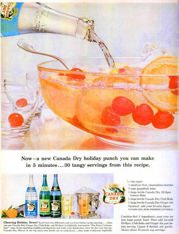 This beautiful punch recipe is from 1959. Here's the Canada Dry recipe for party punch. 1/4 cup sugar 1 small jar (8 oz.) maraschino cherries 3 cups grapefruit juice 1 large bottle Canada Dry Hi-Spot Lemon Soda 1 large bottle Canada Dry Club Soda 1 large bottle Canada Dry Ginger...