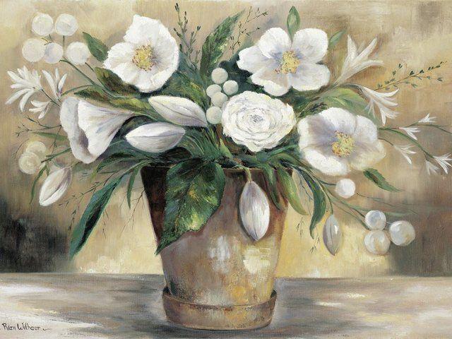 Poster, Leinwandbild »Botanik Blumen Blumenstrauß Topf Malerei«