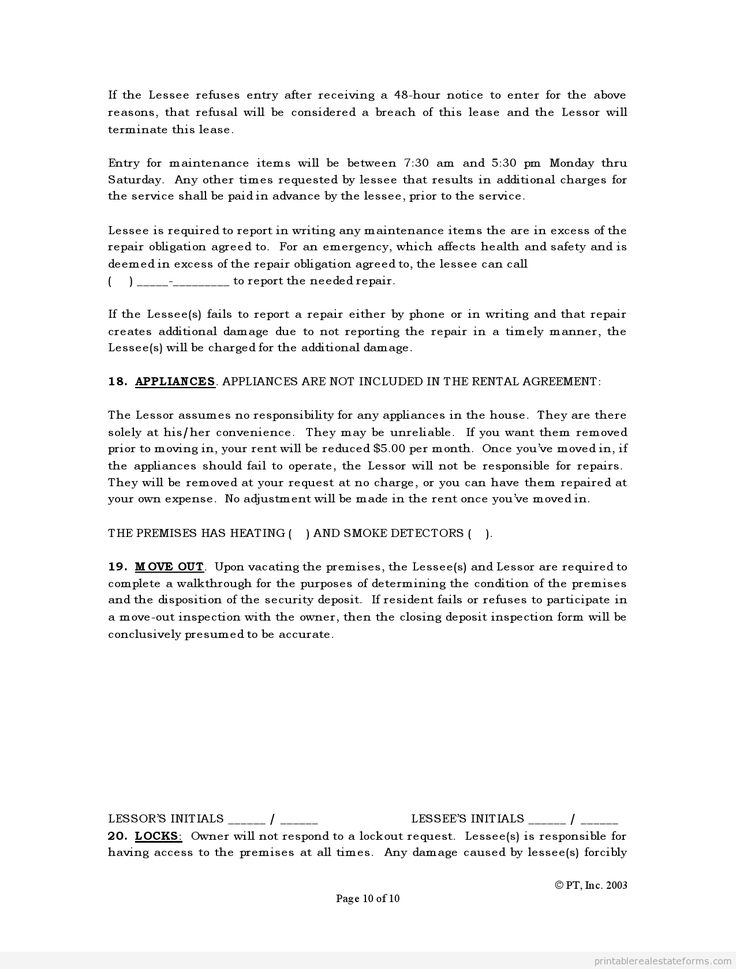 Printable Standard Lease Agreement Template   Sample Forms