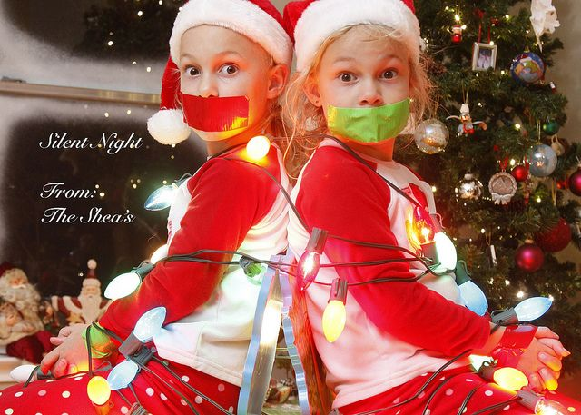what a fun christmas card idea - Silent Night lol