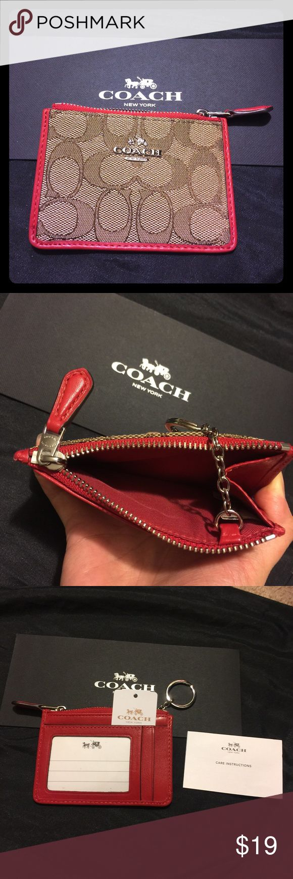 COACH signature mini skinny wallet coin keychain 😱DEAL!😱 COACH signature mini ID skinny wallet/coin purse. ID card and credit card slot. Zippered top with key ring easily lets you attach to keys, purse, backpack what ever for convenient on-the-go. Leather red trim. Signature fabric logos. Makes great gifts! 💝 Coach Accessories Key & Card Holders