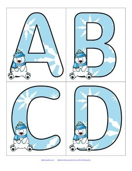 FREE This is a set of large letters with a Winter Polar Bear theme. Includes both upper and lower case. 4 letters to a page. Use to make matching and recognition games for early learners. Large enough for bulletin board and room décor. 15 pages
