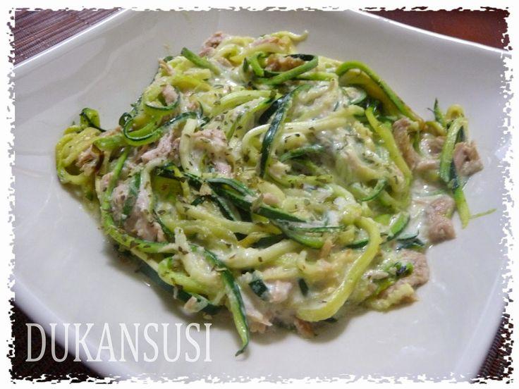 Recetas Dukan - Dukansusi: Espagueti de calabacín con atún y nata ligera