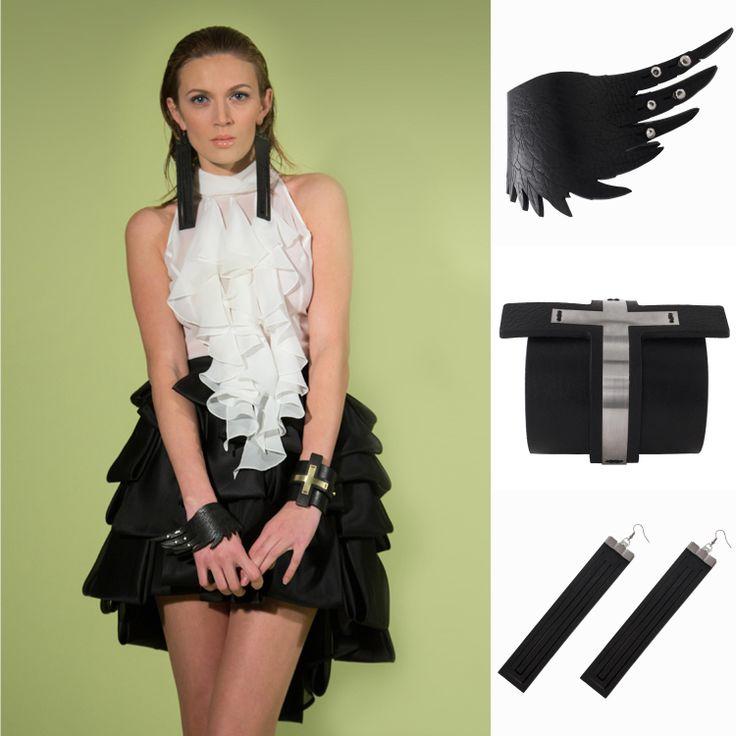 Stylish Rock Outfit Lo chiffon mixato con accessori in pelle dal sapore rock