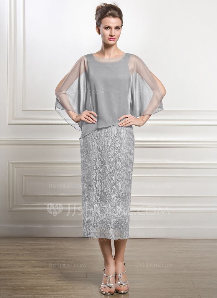 Sheath/Column Scoop Neck Tea-Length Zipper Up at Side Sleeves 3/4 Sleeves No 2015 Other Colors Spring Summer Fall General Plus Chiffon Lace Mother of the Bride Dress