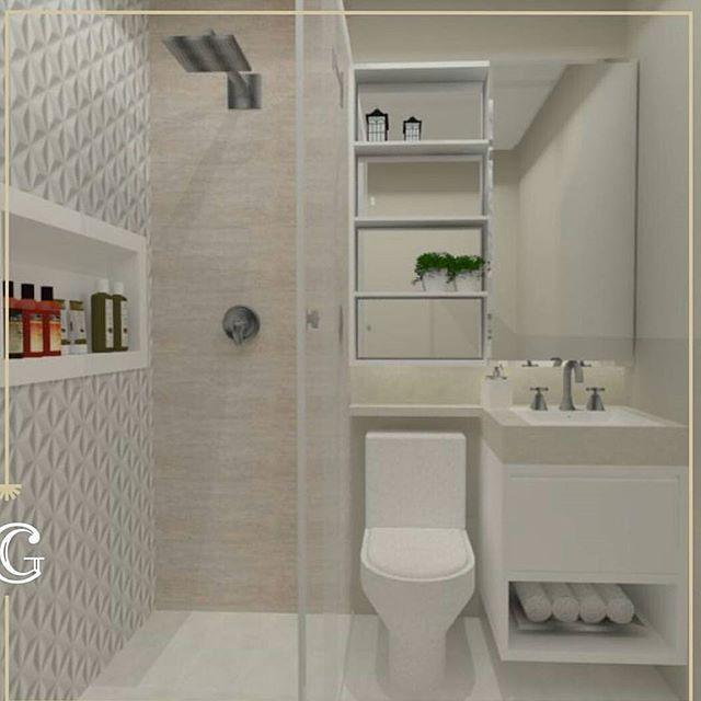 Bom dia! Projeto para banheiro pequeno da @carolgoulart.interiores para nos inspirarmos. Decoração clean com toque sofisticado, excelente ideia para banheiros e lavabos com espaço reduzido. #blogmeuminiape #meuminape #apartamentospequenos #inspiração #projeto #designdeinteriores #decoração