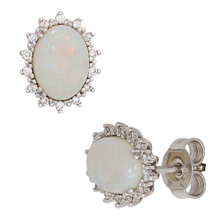 NEU Diamanten Ohrstecker Opal 585er Weißgold 585 echt Gold Ohrringe 14 Karat