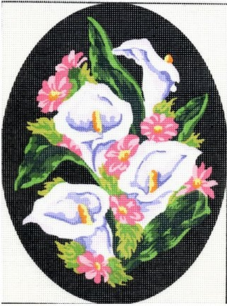 OVAL CALLA LILIES NEEDLEPOINT CANVAS