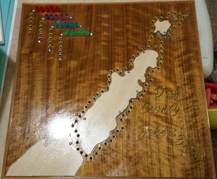 The finished Door County Jokers & Pegs game! Ready to become the in-laws' Christmas gift...