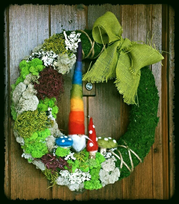 Needle felted gnome & mushroom moss wreath.