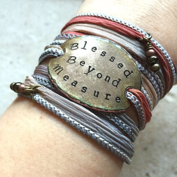 silk wrap bracelet blessed beyond measure  wrap bracelet