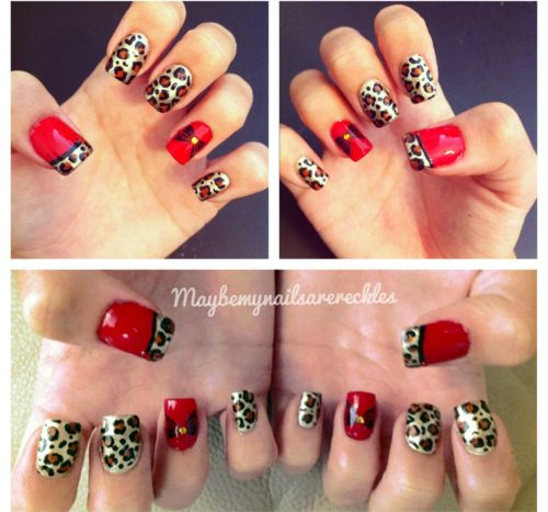 red cheetah manicure