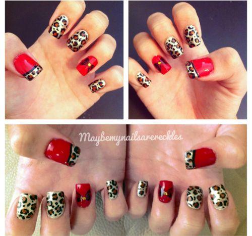 red cheetah manicure