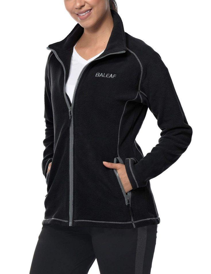 BALEAF Womens Fleece Jacket//Vest Full Zip Hoodie with Detachable Hood